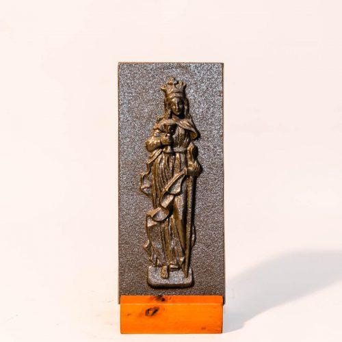 Św. Barbara - metal płaskorzeźba